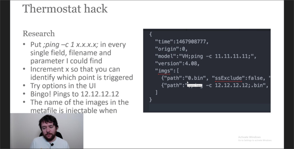 Andrew Tierney presents a talk on hacking smart thermostats